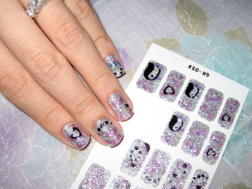 glitter nail sticker on nails