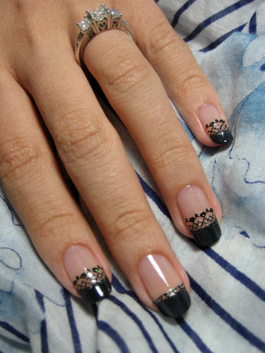 Easy black lace nail design black lace nail art designs prinsesfo Image collections