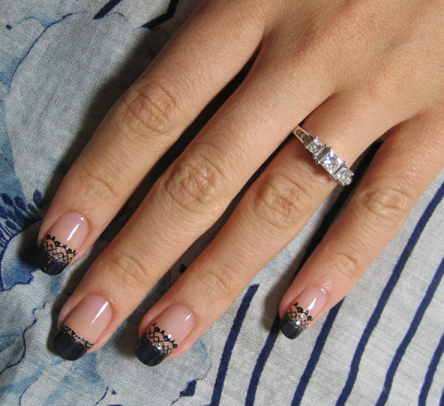 Black Lace Nail Sticker Design - Easy Black Lace Nail Design