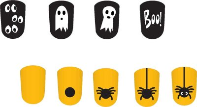 Floating Eyes and Spider for Halloween Nail Designs